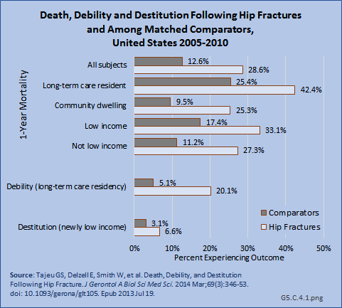 Death, Debility and Destitution Following Hip Fractures and Among Matched Comparators,  United States 2005-2010