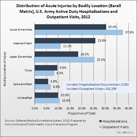 Distribution of Acute Injuries by Bodily Location (Barell Matrix), U.S. Army Active Duty Hospitalizations and Outpatient Visits, 2012
