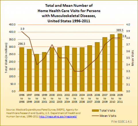 Total and Mean Number of Home Health Care Visits for Persons with Musculoskeletal Diseases, United States 1996-2011