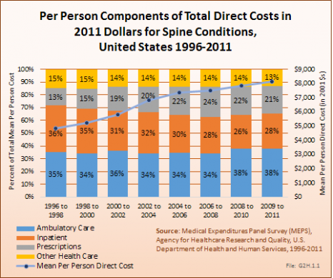 Per Person Components of Total Direct Costs for Spine Conditions