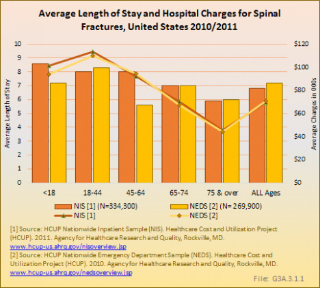 Average Length of Stay and Hospital Charges for Spinal Fractures, United States 2010/2011