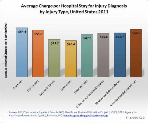 Average Charge per Hospital Stay for Injury Diagnosis by Injury Type, United States 2011
