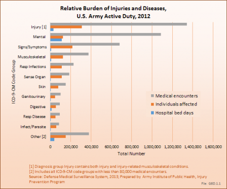 Relative Burden of Injuries and Diseases, U.S. Army Active Duty, 2012