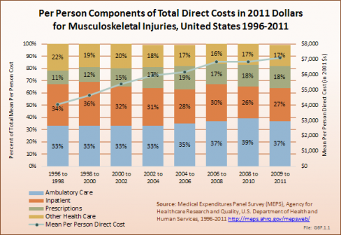 Per Person Components of Total Direct Costs in 2011 Dollars for Musculoskeletal Injuries, United States 1996-2011