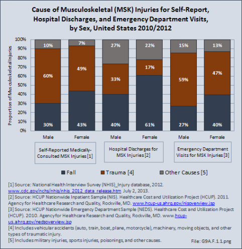 Cause of Musculoskeletal (MSK) Injuries for Self-Report, Hospital Discharges, and Emergency Department Visits, by Sex, United States 2010/2012