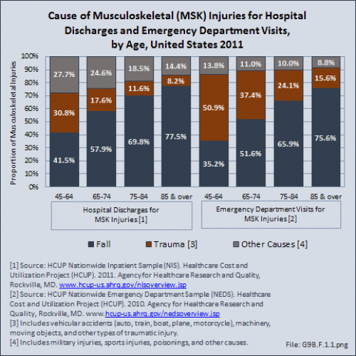 Cause of Musculoskeletal (MSK) Injuries for Self-Report, Hospital Discharges, and Emergency Department Visits, by Age, United States 2010/2012